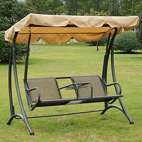 Outsunny 2 Seat Covered Patio Swing Chair Bench with Canopy