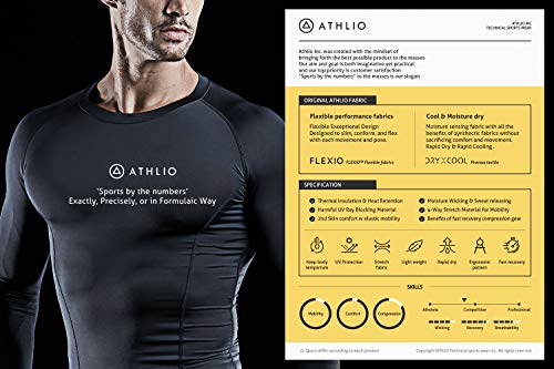 ATHLIO AO-BLS01-KCW_Large Men's (Pack of 3) Cool Dry Compression Long Sleeve Baselayer Athletic Sports T-Shirts Tops BLS01 by ATHLIO (Image #3)