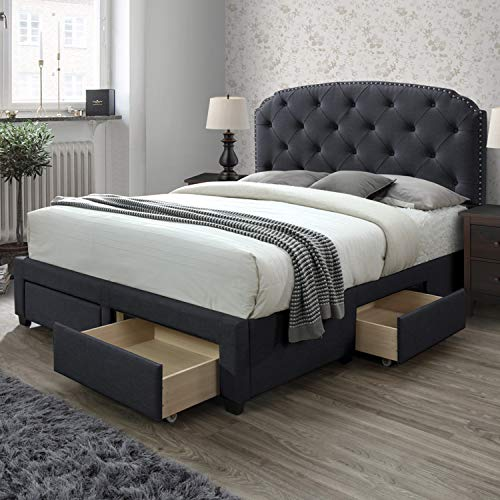 DG Casa 12350-K-CRL Argo Tufted Upholstered Panel Bed Frame with Storage Drawers and Nailhead Trim Headboard, King Size in Charcoal Linen Style Fabric