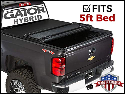 Gator Hybrid Hard Folding (fits) 2015-2019 Chevy Colorado GMC Canyon 5 FT Bed Only Hard w/Soft Looks Tonneau Truck Bed Cover (GHF0131) Made in The USA