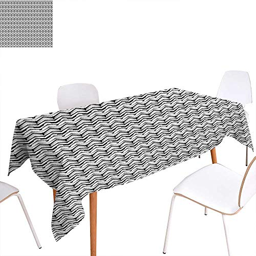 familytaste Abstract Dinning Tabletop Decoration Monochrome Chevron Pattern with Geometric Elements Roof Tile Three Dimensional Table Cover for Kitchen 50