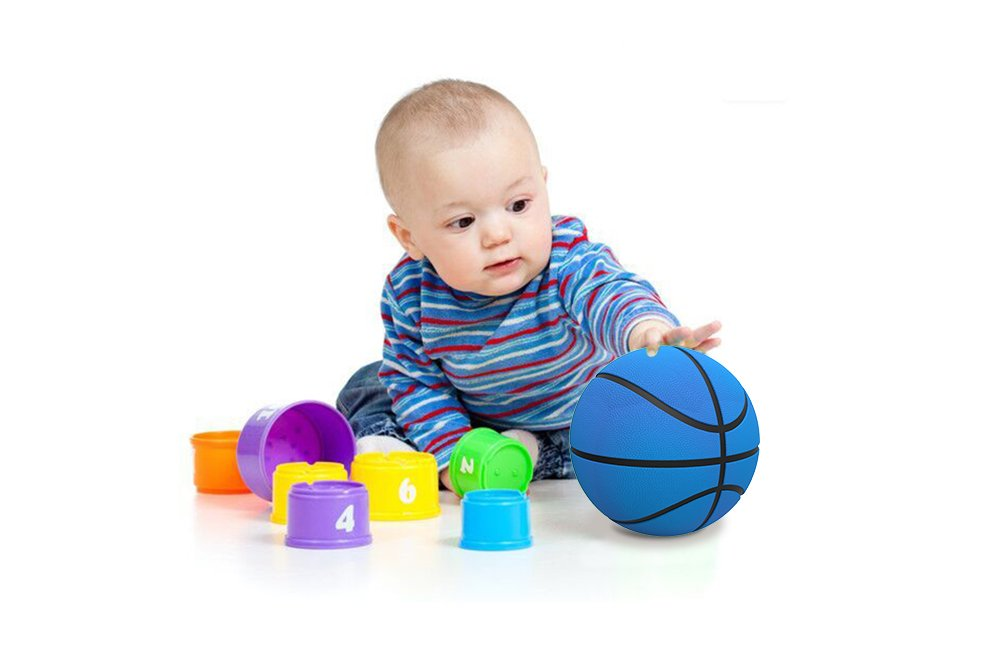 5inch Mini Basketball, HUNDA Indoor/Outdoor Small Basketball for Kids Soft and Bouncy Hand Held Ball +Eco-Friendly Material and Safe to Play