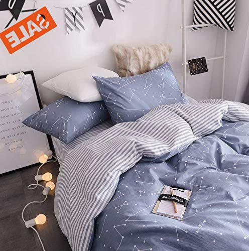 Hemau Soft Twin Sets Chic Cotton Reversible Constellation Galaxy Printed Comforter Cover, Kids Teens Adult Stripe Bed Set, Zipper Closure, Breathable, Lightweight, Twin | Style ()