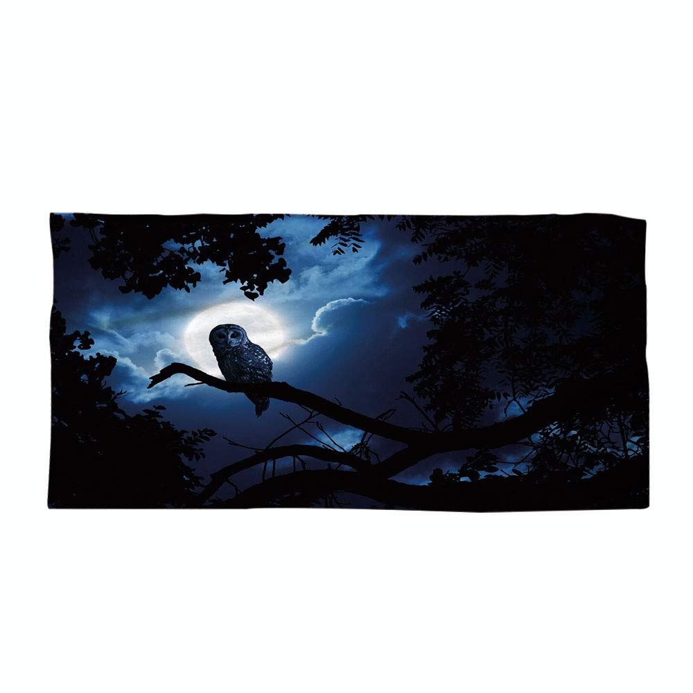 iPrint Cotton Microfiber Beach Towel,Night,Quiet Night in The Woods Full Moon Tall Trees and Owl on Branch Tranquil Scene Decorative,Black Blue White,for Kids, Teens, and Adults