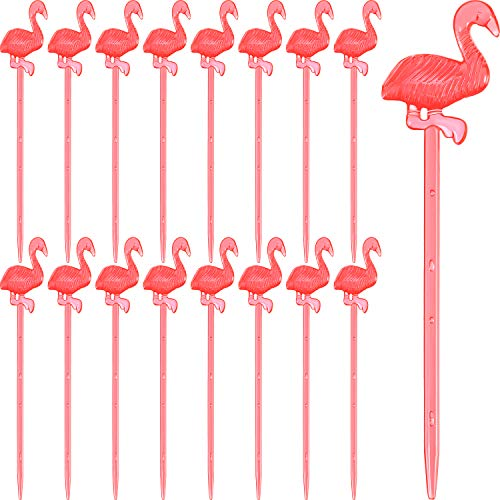 Plastic Pink Flamingo Picks Food Picks Cocktail Picks Flamingo Fruit Toothpick for Hawaiian Tropical Party Supplies (72) -