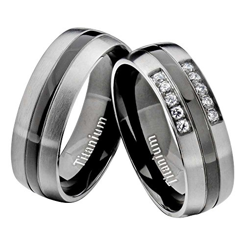 FlameReflection Titanium Black Gray Round CZ His & Hers Wedding Band Engagement Ring Sets by FlameReflection