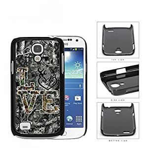 LOVE Browning Deer Head BLACK WHITE GREY Camo Tree Oak Pattern #A07 Samsung i9190 Galaxy S4 (MINI) Hard Snap on Plastic Cell Phone Case Cover