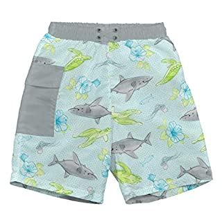 i play. by green sprouts baby-boys Trunks with Built-in Reusable Swim Diaper,Light Aqua Shark Sealife,18mo