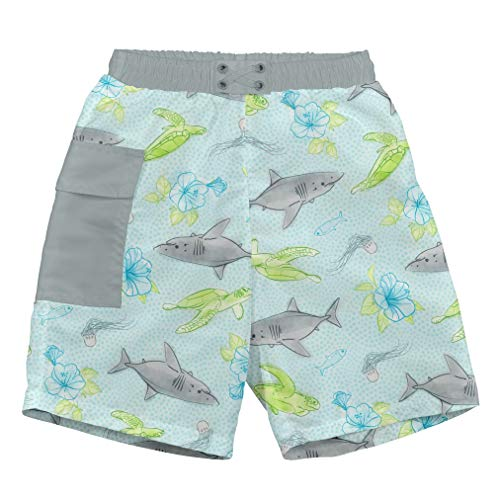 i play. by green sprouts baby-boys Trunks with Built-in Reusable Swim Diaper,Light Aqua Shark Sealife,6mo