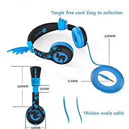 iClever Kids Headphones for School with 85db Volume Limiting BoostCare HS05 Flexible Silicone Dragon Wing Wired Children\'s Over the Ear Headsets for iPad, Kids Tablet, Blue