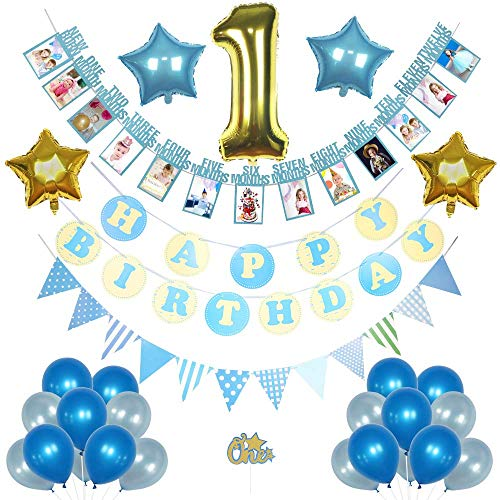 1 st birthday boy decorations pack, Happy Birthday banner, 12 month Milestone Photo banner, Triangle garland, Number one foil balloon, blue and gold star foil balloons, premium latex balloons]()