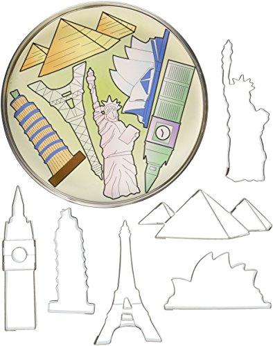 R&M International 1875 Landmarks Cookie Cutters, Big Ben, Sydney Opera House, Statue of Liberty, Pyramid, Eiffel Tower, Tower of Pisa, 6-Piece (Pyramid Tower)