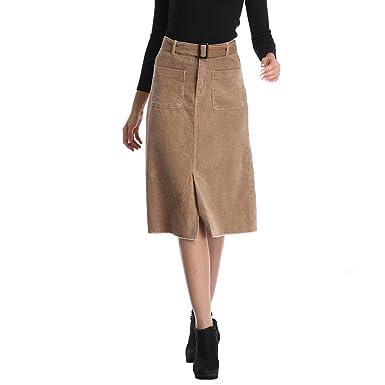 1b41726752660 Women s Knee Length Wrap Corduroy Sheath High Waisted Bodycon Midi Slit  Skirts with Belt