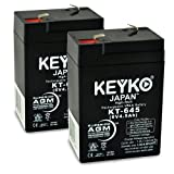 Carpenter Watchman 713526 6V 4.5Ah SLA Sealed Lead Acid Rechargeable Replacement Battery Genuine KEYKO (W/ F-1 Terminal) - 2 Pack