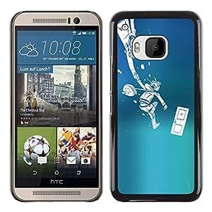 KLONGSHOP // Cubierta de piel con cierre a presión Shell trasero duro de goma Protección Caso - Empuje Monster - HTC One M9 //