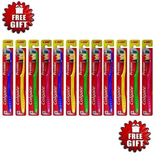 Price comparison product image Colgate Toothbrush Premier (12 Pieces) Clip-strip + FREE 4 AA Panasonic Batteries
