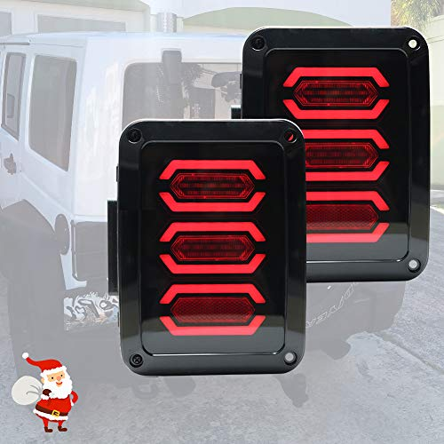 Liteway Jeep Wrangler Tail Lights LED Smoked Diamond Style for 07-17 Jeep JK Brake Reverse Turn Lamp Daytime Running Trun Signal Light, 2 Years ()