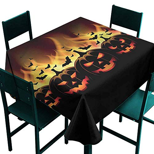 DONEECKL Antifouling Tablecloth Vintage Halloween Jack o Lanterns Table Decoration W54 xL54 for $<!--$27.20-->