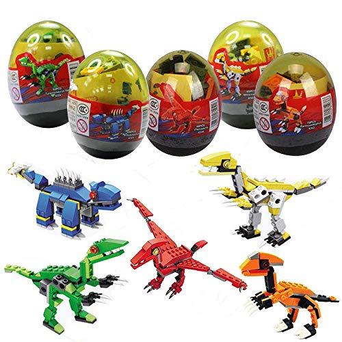 Sunool 5 Pack Dinosaur Building Blocks in Jumbo Easter Eggs with Toy Inside for Kids Boys Girls Easter Gifts Easter…