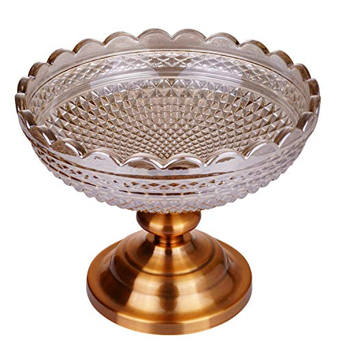 Fruit Tray, Fruit Bowl, Cake Stand, Serving Platter With Round Glass Plate and Antique Gold Metal Pedestal Dessert Cupcake Display Holder for Birthday, Party, Wedding, Home ()