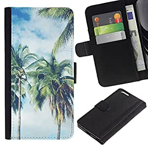 ProTech - Apple Iphone 6 PLUS 5.5 - Palm Trees Clouds Florida Miami California - Cuero PU Delgado caso Billetera cubierta Shell Armor Funda Case Cover Wallet Credit Card