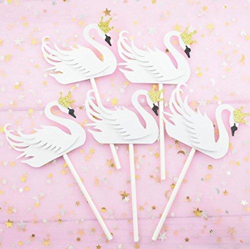 50 adornos para cupcakes, diseño de cisne blanco elegante ...
