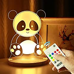 Minl Night Light 3D acrylic colorful lights remote control magic lights led family birthday gift bedroom lamp bedside lamp holiday low-power gifts can be timed (PATTERN : Panda)