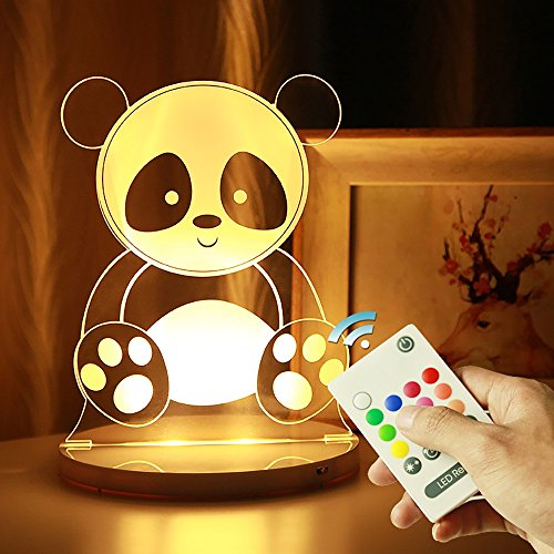 acrylic colorful lights remote control magic lights led family birthday gift bedroom lamp bedside lamp holiday low-power gifts can be timed (PATTERN : Panda) ()
