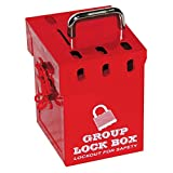 Lockout Safety Supply 7286 Mini Group Lock Box, Holds 7 Padlocks, Red
