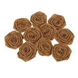 Pack of 10 Rustic Flower Rose Wedding Burlap Hessian Jute Vintage Decor 5 Colors - Brown