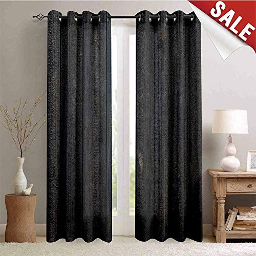Flyerer Dark Grey, Window Curtain Drape, Wood Fence Texture Image Rough Rustic Weathered Surface Timber Oak Planks, Customized Curtains, W84 x L96 Inch Dark Grey Blue