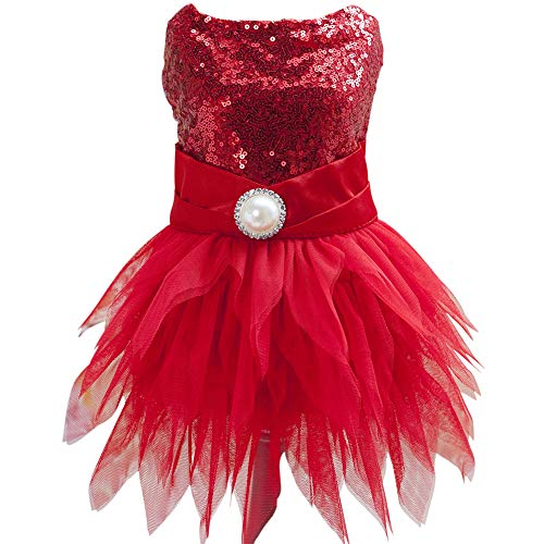 Christmas Holiday Dog Dress - Tangpanl Beam Waist Christmas Pet Costume Dog Dance Skirt Satin Camp Party Dress(Red,M)