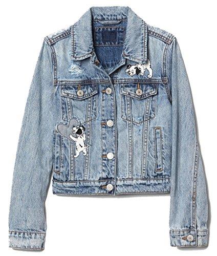 GAP Kids Girls Disney 101 Dalmatians Distressed Denim Jacket Large 10 - Gap Jean Jacket