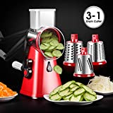 Spiralizer Vegetable Slicer 3-Blades Speedy Rotary Drum Grater Slicer for Vegetable Fruit Cutter Cheese Shredder