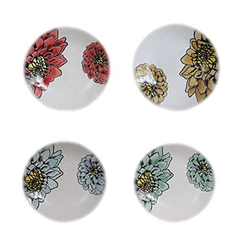 Blue Sky Ceramic Peonies Appetizer Plates (Set of 4), 6.5