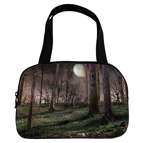 iPrint Increase Capacity Small Handbag Pink,Gothic,Dark Night in The Forest with Full Moon Horror Theme Grunge Style Halloween,Brown Green Yellow,for Girls,3D Print -