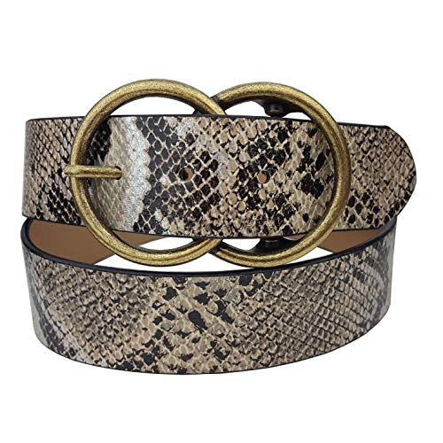 Vegan Leathrette Belt in Python Print with Trendy Double Round Buckle Tan SM