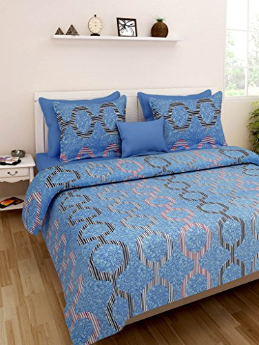 Homefab India Cotton Printed Double BedSheet with 2 Pillow Covers