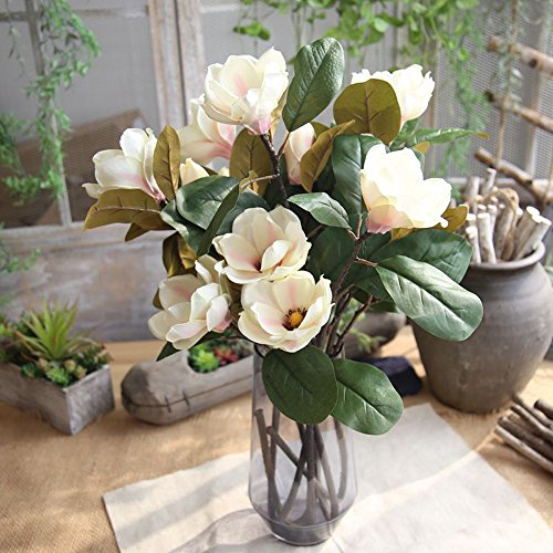 Allywit Artificial Magnolia Flowers, Fake Real Touch Magnolia Bouquet for Indoor Outdoor Wedding Home Garden Patio (Magnolia Flower)
