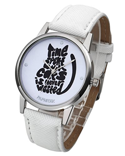 Top Plaza Unique Casual Letters Cat Dial PU Leather Strap Analog Quartz Watch Cute Lovely Cartoon Pattern Wrist Watch-White (Casual Cartoon Pattern)