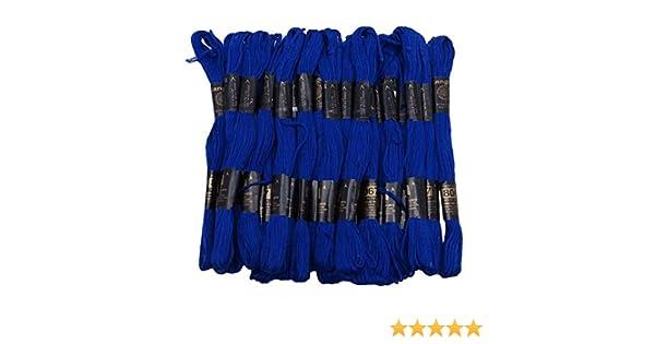 IBA Indianbeautifulart 25 PC Paquete Azul Bordado de la Puntada de Coser de madejas Pase Hilo de Tejer