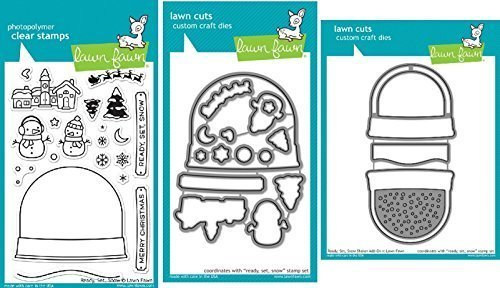 Lawn Fawn Ready, Set, Snow Clear Stamp and Die Set - Includes One Stamp (LF973) & Two Dies (LF974 & LF975) - Bundle Of 3