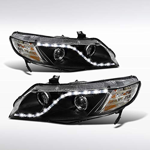 (Autozensation For Honda Civic 4Dr Sedan Black R8 LED Projector Headlights Lamps)