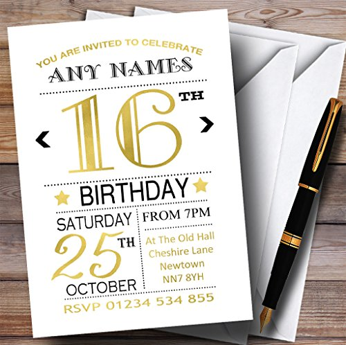 White Black & Gold 16th Personalized Birthday Party Invitations