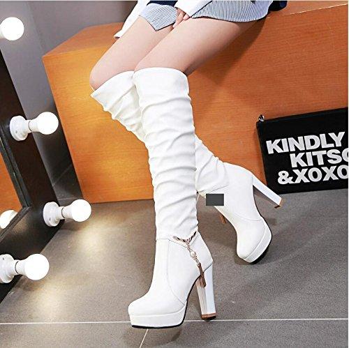 LGK&FALa cheville de Dame printemps démarrer au printemps et en hiver, talons hauts et bottes à talons hauts et chaussures d'hiver en hiver 40 white (thin)