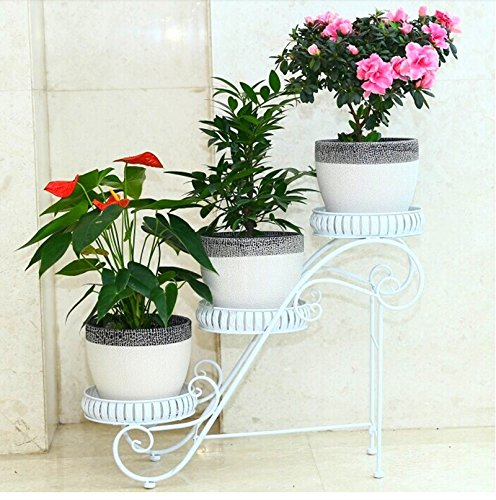 White multi-functional idyllic flower frame / multi-storey design / suitable for indoor, balcony, living room, garden by Flower racks - xin