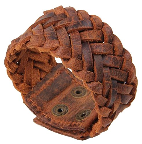 Unisex 3.5cm Wide Black Brown Leather Bracelet Hand Made Braided Wristband Bangle Cuff,23cm Length (Brown)