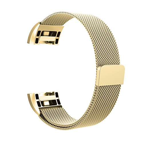 """Fitbit Charge 2 Milanese Bands Metal Gold, Swees Replacement Small & Large (5.5"""" - 9.9"""") Stainless Steel Magnetic Wristband Bracelet Watch Band for Fitbit Charge 2, Gold"""