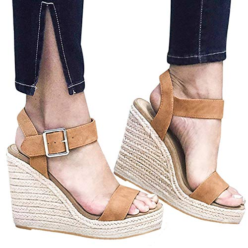 (XMWEALTHY Women's Wedge Sandals Casual Sandals Shoes Summer Ankle Buckle Open Toe Platform Wedges Heels Khaki CN 43)