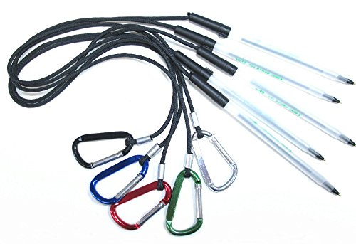 Reception Pen - FIVE PACK - 24 INCH PEN LEASH - CARABINER ATTACHES TO CLIPBOARD OR NOTEBOOK. (CLIPBOARD and NOTEBOOK NOT INCLUDED) - FIVE (5) PACK